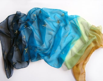 Ombre silk chiffon scarf hand painted/ Mustard aqua dark blue scarf with golden stars/ Woman accessory/ Luxury Scarf Shawl Painted