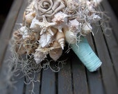 Beach Wedding, Burlap and Shell Bouquet for Brides (Rustic Playa Playista  Rustic Style).In Stock - Ready to Ship