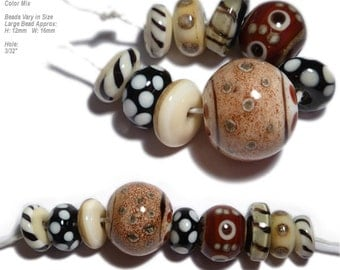COLLECTION 42 Lampwork Bead Set Handmade Natural Color Mix in Organic Design