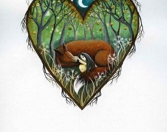 Heart art print. 'Dreaming'.  By Amanda Clark.