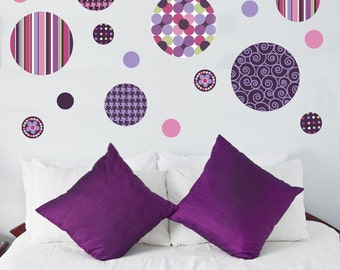 Delightful Dots Purple & Pink Wall Decals, Eco-Friendly Removable and Reusable Matte Fabric Wall Stickers