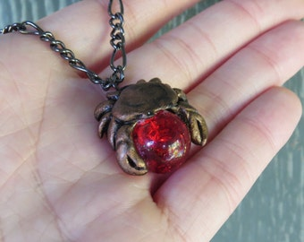 Cancer Zodiac Crab Necklace Pendant Ruby Birthstone June July