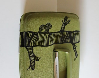 VINTAGE green TRAIN CASE with hand painted owl in tree