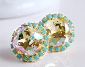 Luminous Green Swarovski Crystals Framed with Turquoise Halo Crystals on Silver Post Earrings, Halo Stud Earrings