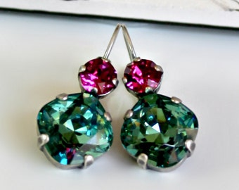 Faceted Blue Green Square Crystals with Round Fuchsia Crystals on Antique Silver Leverback Earrings