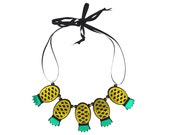 Yellow Acrylic Pineapples Forever Necklace
