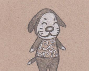 Animal Crossing Drawing - Marcel. Animal Crossing Dog Villager. Custom Animal Crossing Gift. Nintendo. Video Game. Gamer. Fan Art. Artwork.