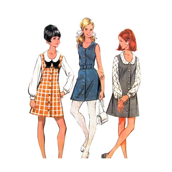Junior Jumper Dress & Blouse Pattern McCalls 9597 Button Front Size 7 8 Junior Teen Vintage Sewing Pattern