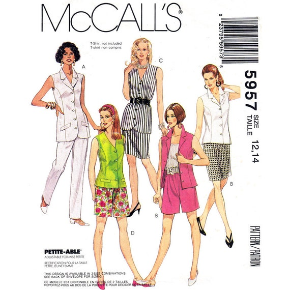 Vest Sleeveless Blouse Skirt Pants Shorts McCalls 5957 Casual Suit Size 12-14 or 14-16