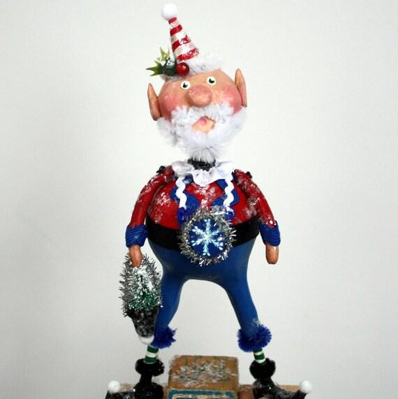 folk art whimsical christmas santa elf by junebugsbylinda