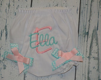 Personalized  BLOOMER Diaper Cover with Bows Monogrammed Baby Bloomer