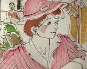 Paris Cafe Girl, Wall Art and Home Decor Portrait: a hand pulled etching, limited edition print in color, pink