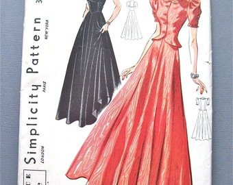 1930s Simplicity 3163 Evening Gown Vintage Sewing Dress Pattern  Bust 32 inches
