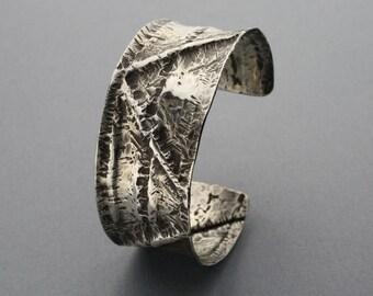 Zig Zag Sterling Silver Fold Formed Cuff Bracelet, Size Medium