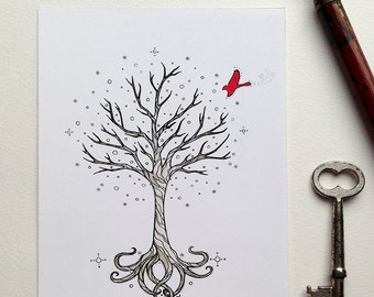 4x6 Midwinter Has Come - Fine Art Print, Nature, Holiday, Red Bird, Peace on Earth, Painting, Tree Design, Season's Greetings, Tree of Life