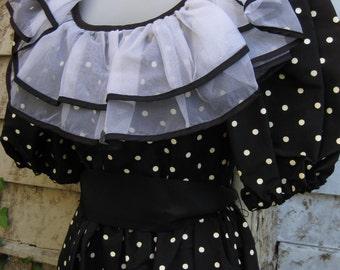 1980s formal dress size 3 Punk Rock BabyDoll RUFFLES polka dots black white dress Small size, black gothic goth or baby doll steampunk dress