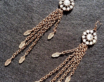 Brass Feather and Round Jeweled Earrings