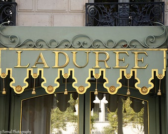 Paris Photography, Laduree Champs Elysee, Laduree Kitchen Art Print, Laduree Door Sign, Paris Tea Macaron Shop, Paris Doors Laduree Wall Art