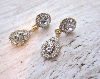 Gold Rhinestone Bridal Earrings, 1920s Bridal Vintage Earrings, Gold Earrings, Wedding Earrings, Chandelier Earrings - EMMY
