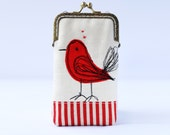 iPhone Case iPhone sleeve gadget case  iPhone 6s, iPhone 6s Plus, Samsung Galaxy S7 etc. -- Free Motion Embroidery Red Bird