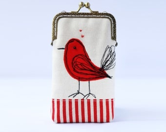 iPhone Case iPhone sleeve gadget case/Glasses Case (iPhone 7, iPhone 7 Plus, Samsung Galaxy S7 etc.) -- Free Motion Embroidery Red Bird