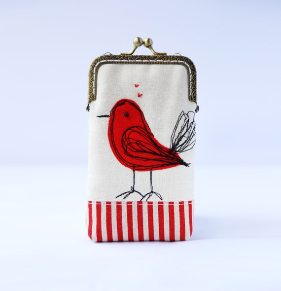 iPhone Case iPhone sleeve gadget case  iPhone 5s iPhone 5c -- Free Motion Embroidery Red Bird