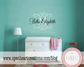 Personalized Name Wall Decals - Shabby Chic Baby Nursery Vinyl Wall Decal with Initial Name and Heart Accents