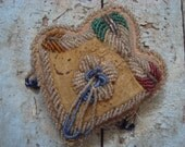 Vintage Victorian Ornate Native American Hand Beaded Shabby Heart Cushion FAB
