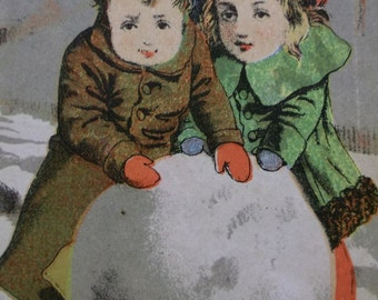 Cute Kids in Colorful Coats-Hats with Large Snowball-Victorian Trade Card-Buffalo Soap-1800's
