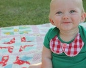 infant girl bodysuit--pom trim pan collar on grass green--vintage pink button--hudson & ruthie