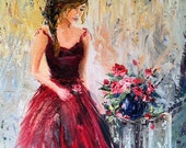 "Art print of Original Oil Painting Feminine Romantic Woman Figure Red Roses Impressionist 12.875"" x 16"" canvas print"