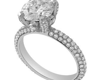 8mm Forever Brilliant Moissanite & Diamonds Micro Pave Engagement Ring R211
