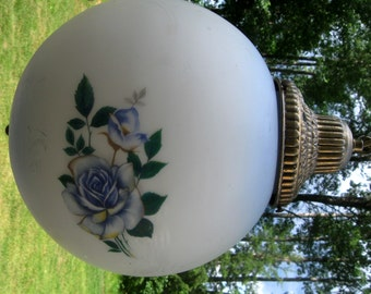 Vintage Glass Hanging Lamp Swag Lamp Light Fixture Blue Roses White