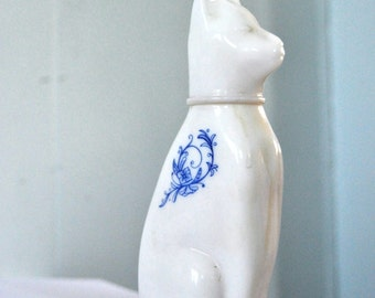 Avon Perfume Bottle Filled Cat with Floral Ming Paisley Detail  Porcelain White Milk Ceramic Cat Vintage Artwork Decorative Desk Statue