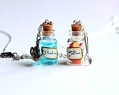 Eat me and Drink me vial necklaces, two bottle jewelries, glass, Alice in Wonderland, charm, best friend gift, fairytale, bff