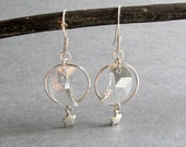 "Swarovski Crystal Crescent Moon Earrings, Grey Crystals, Sterling Silver Stars, Dangle Earrings, Celestial, ""Moonstruck"""