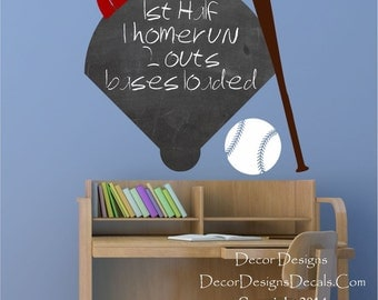 Baseball Chalkboard Vinyl Wall Decal Sticker