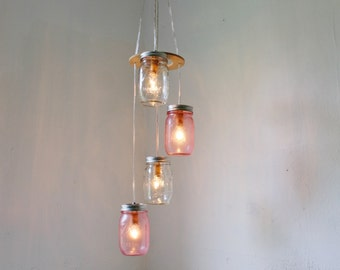 Cotton Candy Mason Jar Chandelier - Upcycled Hanging Lighting Fixture Featuring 4 Spiraling Jars - BootsNGus Modern Country Lamp Design