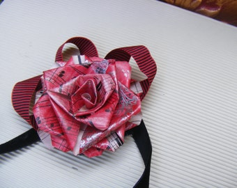 Gift bow - upcycled / recycled paper rose clip for presents - paper, color and embellishment of choice - fully personalized