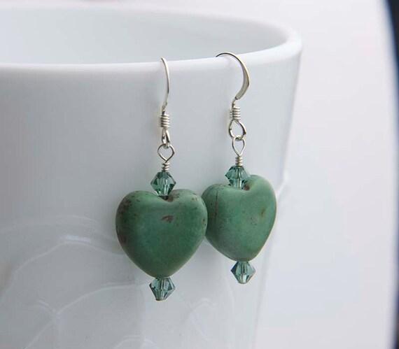 Gemstone Heart Earrings, Green Earrings, Swarovski Crystals, Magnesite, Green Heart Gemstone Earrings, Casual Earrings, Gift for Her, Boho
