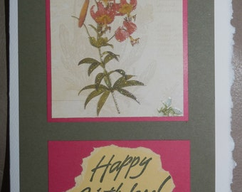 Happy Birthday - Handmade Cards - Pick 1, 2 or all 3 - Glittered Flowers Prints - FREE Shipping