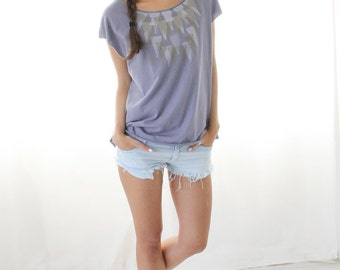 Special order for Johanna, Lavender tank top, Geometric triangles printed Tank