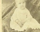 Atlanta Illinois Bald Baby With Wise Eyes Sitting White Dress Il Cabinet Card Antique Photo Portrait Black White Photograph