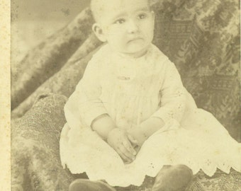 Atlanta Illinois Bald Baby With Wise Eyes Sitting White Dress Il Cabinet Card Antique Photo Portrait Black White Photograph