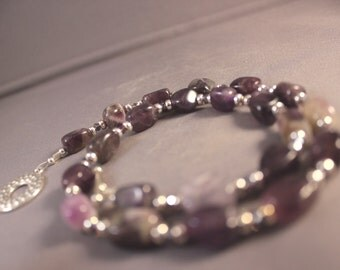 Free Gift Wrap - Sterling Silver and Amethyst Nugget Choker Necklace