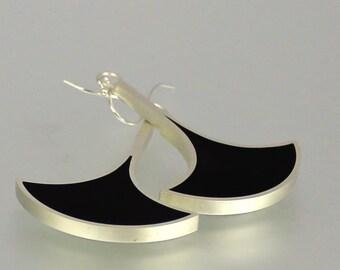 Resin Earrings - Black Earrings - Black Silver Earrings - Black Resin Earrings - Resin Sterling Dangles - Resin Silver Earrings - Geometric