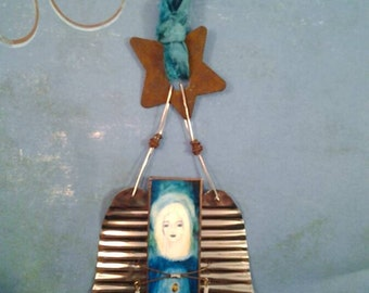 Rustic Angel with recycled tin wings and rusted copper star at the top -- stained glass ornament or keepsake