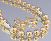 NAPIER Vintage Necklace and Earrings Set Gold and Silver Bead Necklace Set Signed