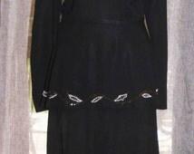 1940s Black Wool Crepe Dress, 1940s Silhouette Dress, Vintage Peplum Dress