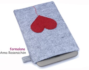 grey case for tablet iPad Kindle e-reader  - felt red heart design cover sleeve pouch wool industrial holiday present woman protection